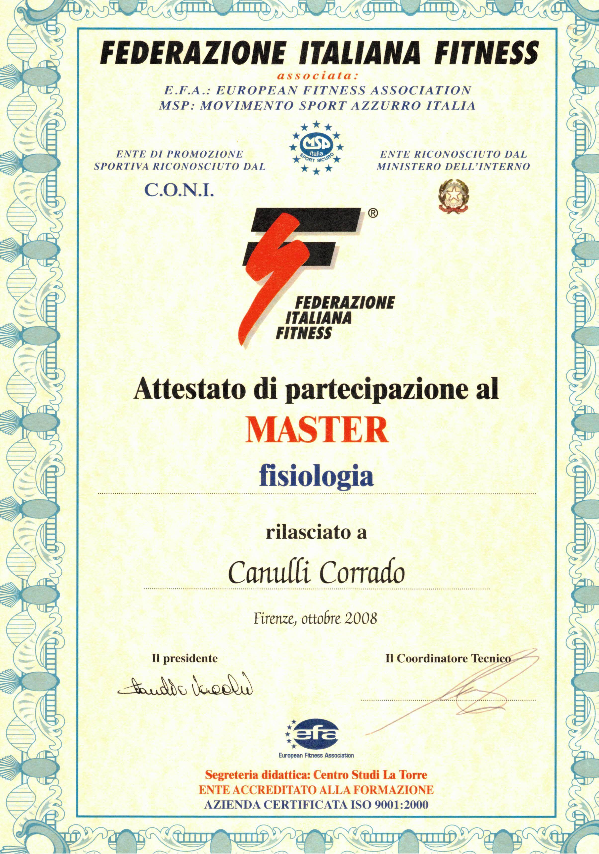 Master in Fisiologia