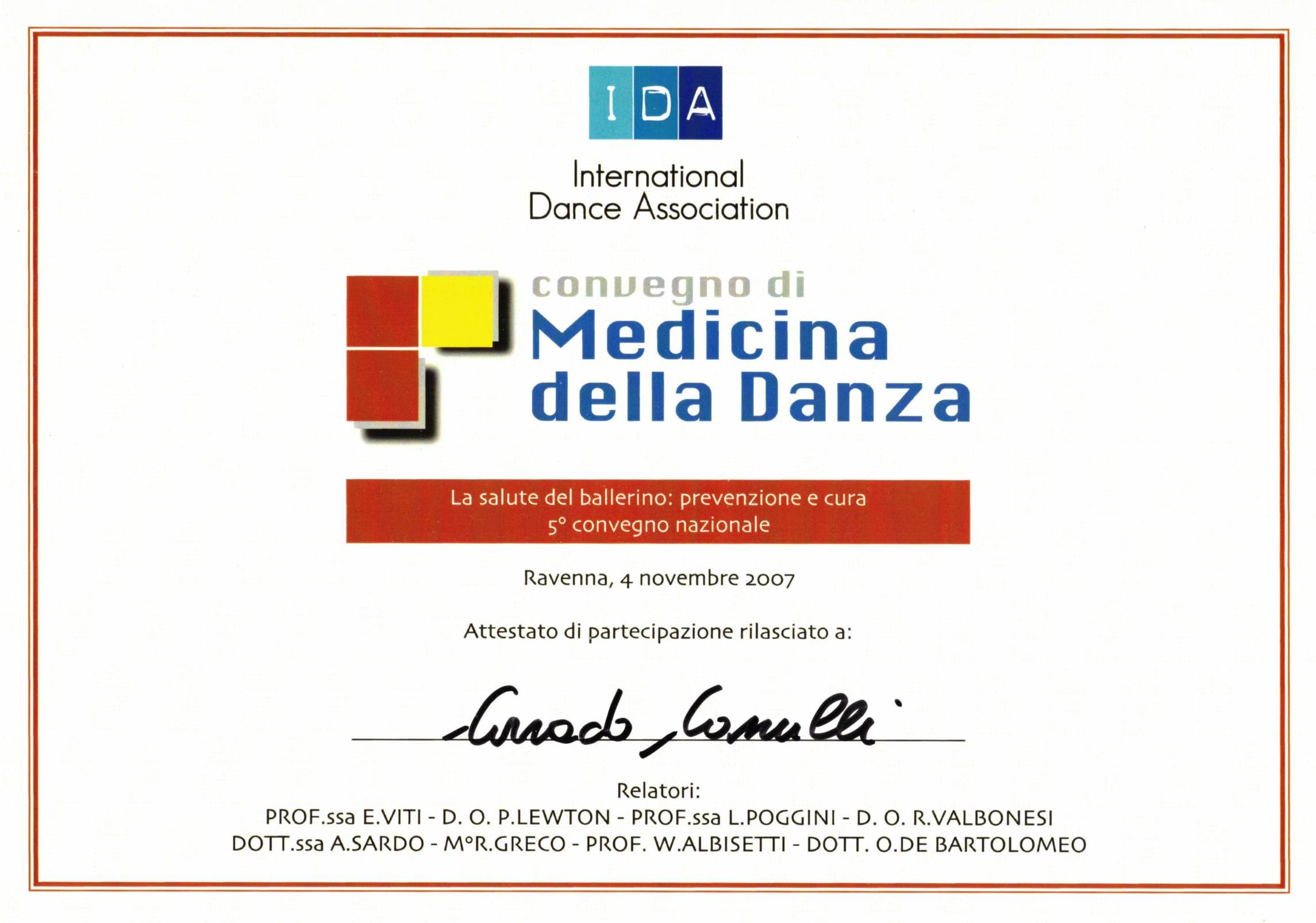 Attestato di partecipazione al convegno Medicina della Danza