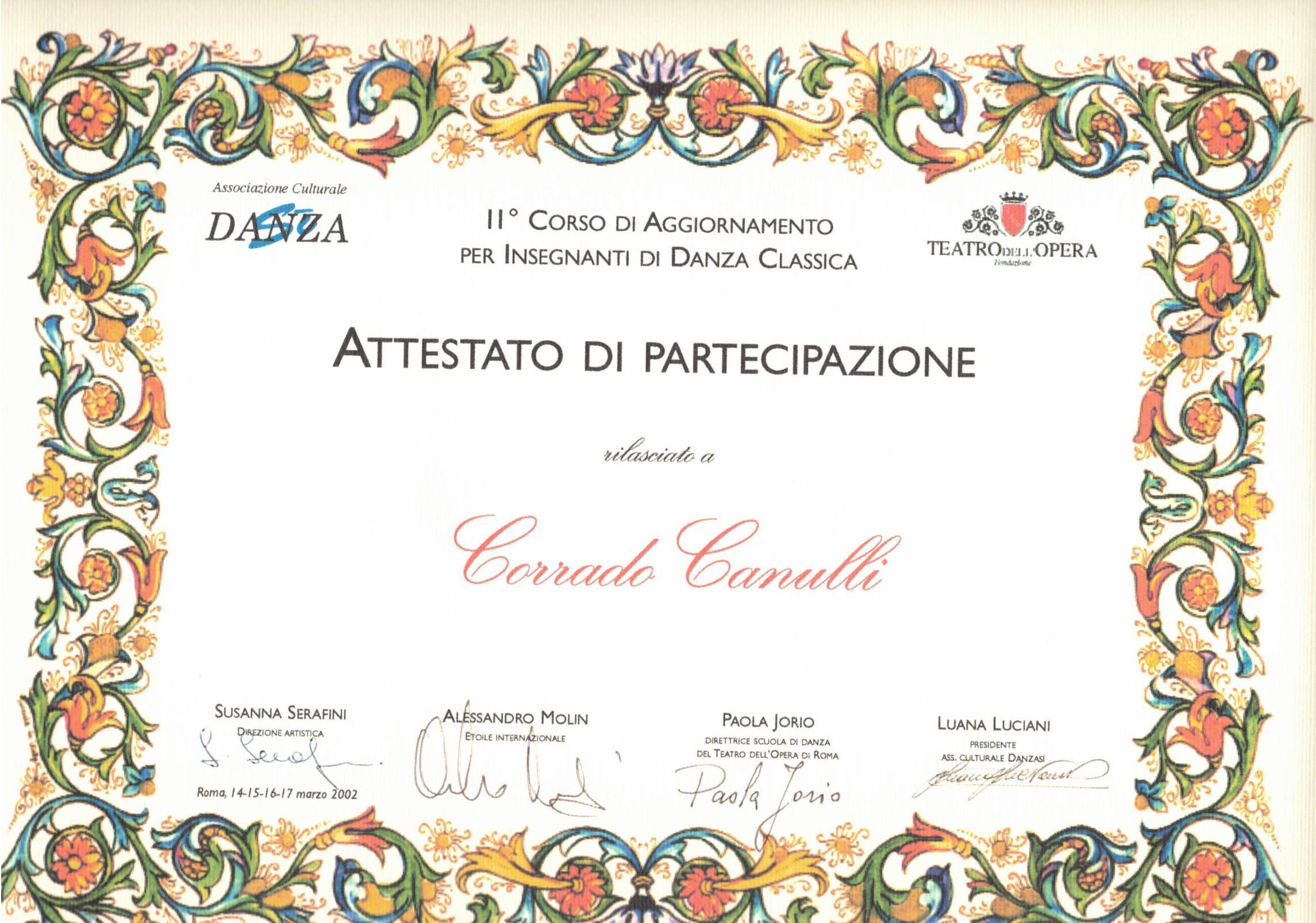 Aggiornamento presso la Scuola di Ballo del Teatro dell'Opera di Roma