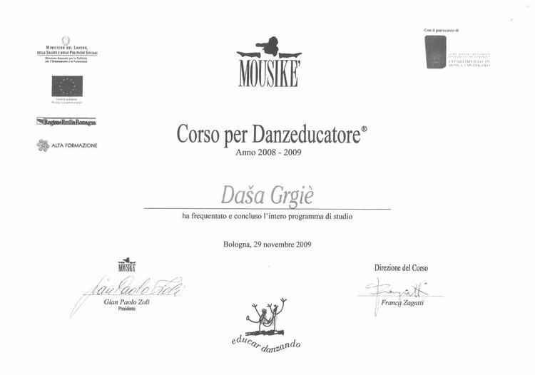 Diploma DanzaEducatrice Mousiké