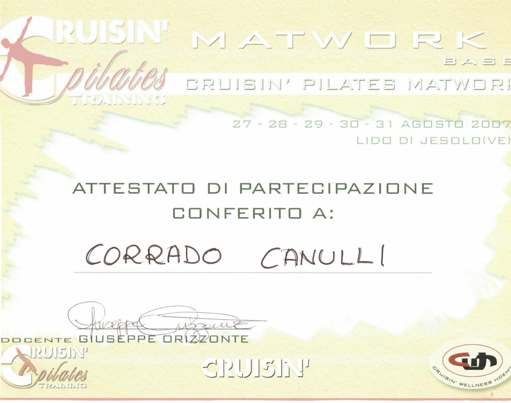 Attestato di partecipazione al corso Matwork 1 con Giuseppe Orizzonte